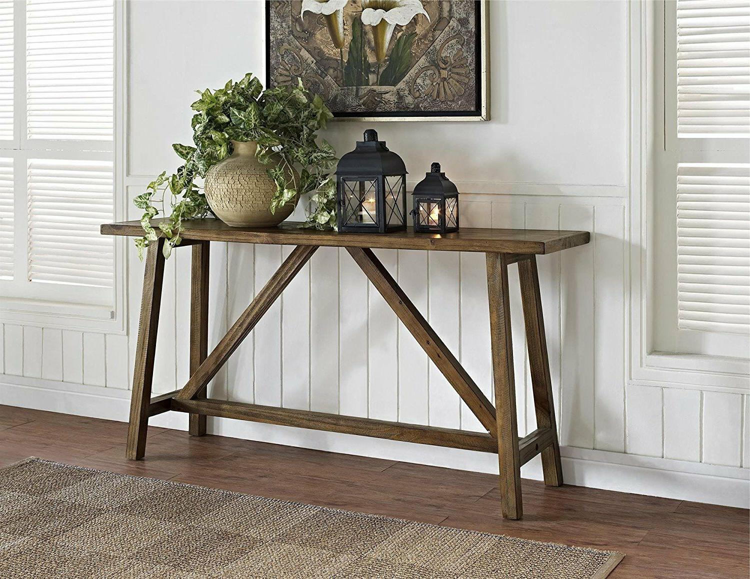 Rustic Hall Table Entryway Console Living Room Display Shelf