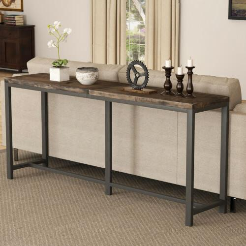 Tribesigns Rustic Solid Wood Console Table Behind Sofa Couch