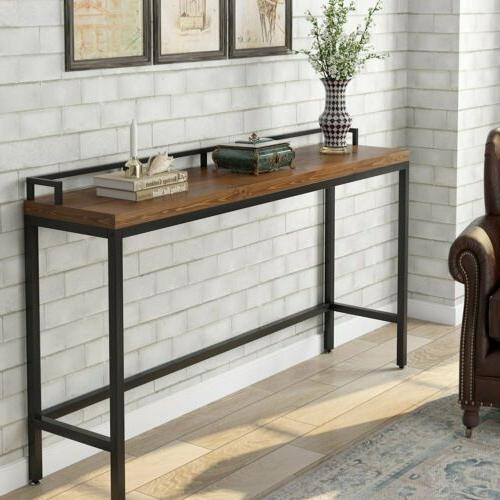 Industrial Style Long Sofa Table Solid Wood+Metal Rectangle