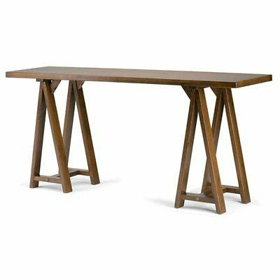 sawhorse solid wood wide console