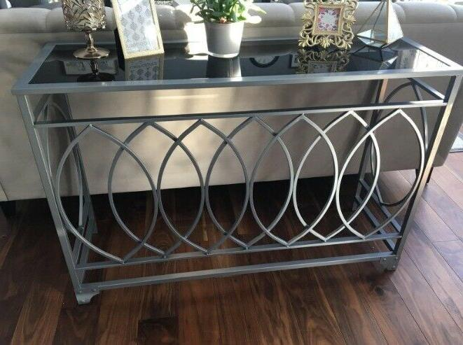 Silver Console Top Entry Modern Glam Accent Furniture New