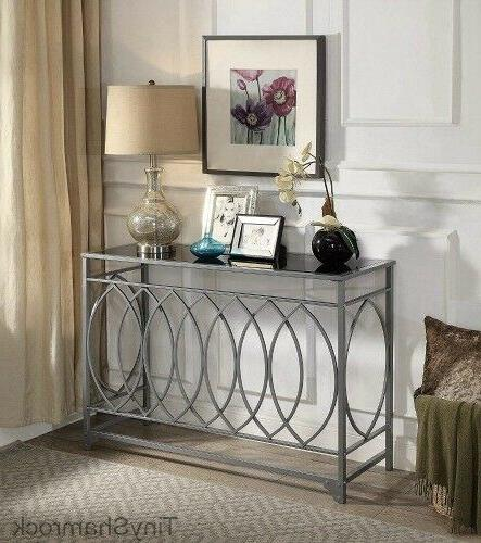 silver console table glass top sofa entry
