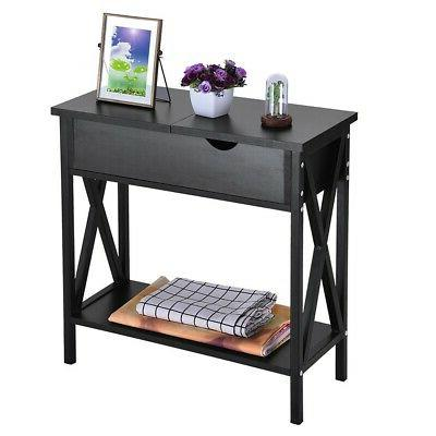 Simple Table Console Sofa Table W/Storage Cabinet US