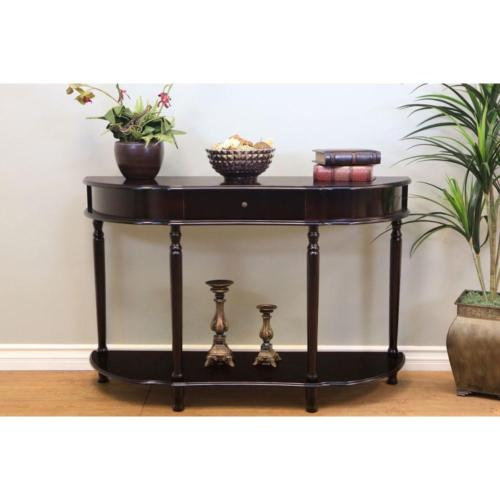 storage console table dark cherry functional style