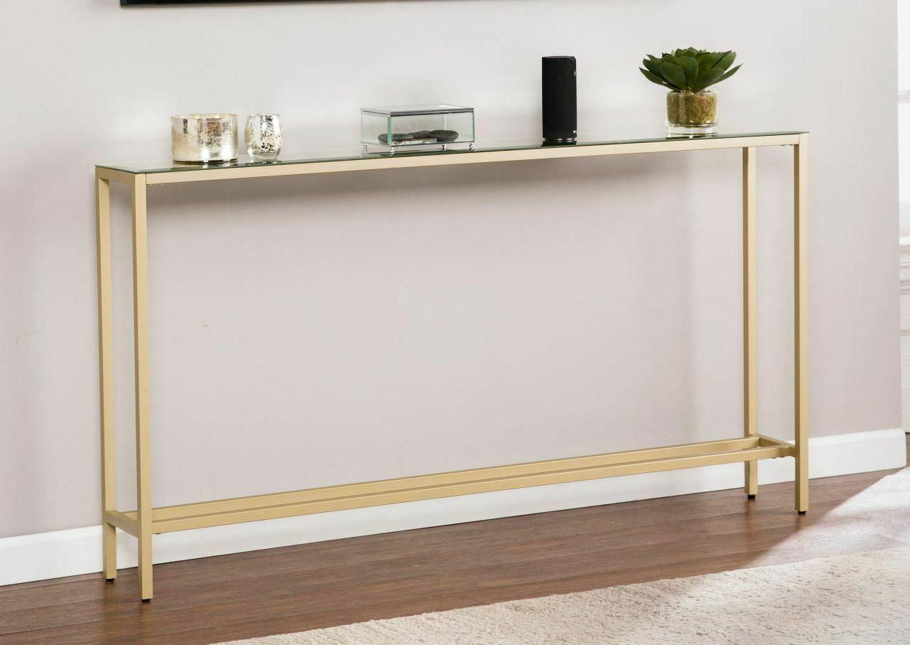 Slim Table Long Mirrored Gold Entryway Room Furniture
