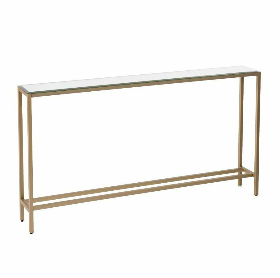 Slim Console Table Narrow Long Mirrored Top Gold Entryway