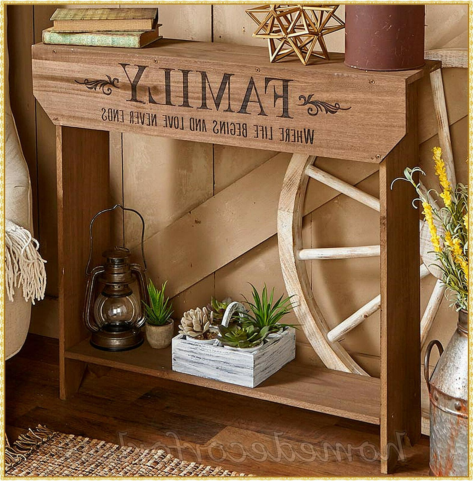 Slim Country Sentiment FAMILY Wood Console Accent Table Farm