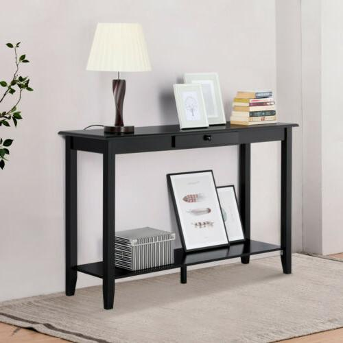 2 Tier Console Table Sofa Table Living Storage Shelf &