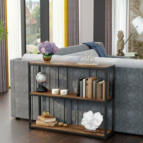 3-Tier Vintage Industrial Console Table Sofa Entry Table wit