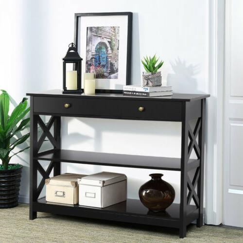 Sofa with Storage Shelves Narrow Accent Table