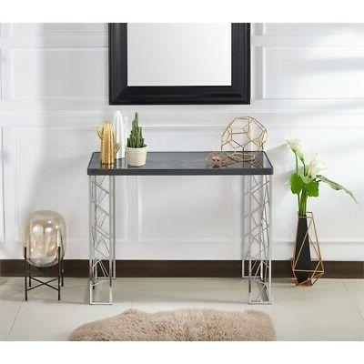 Furniture of America Stefano Metal Console Table in Black an