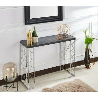 Furniture of Metal Console Table Black and