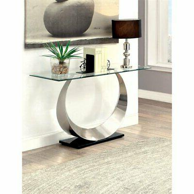 Furniture America Glass Table in Plated