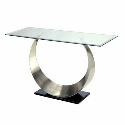 suse glass top console table in satin