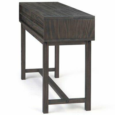 Simpli Home Tabler Drawer Console in Driftwood
