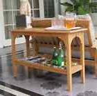 Teak Patio Furniture Outdoor Console Table Two Tier Shelves