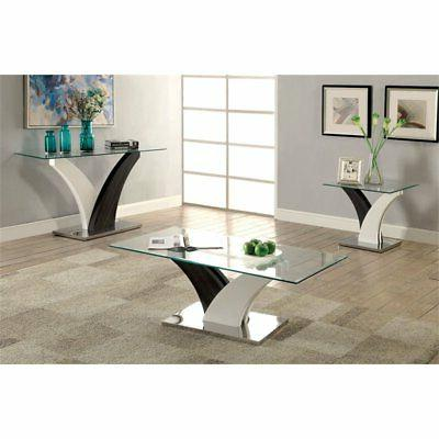 Furniture Glass Console in White and Gray