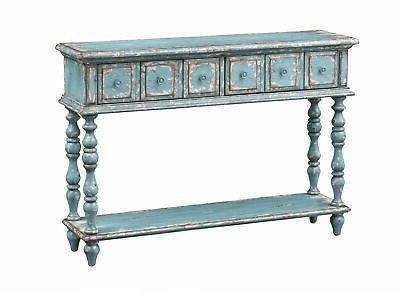 two drawer console table in aged blue