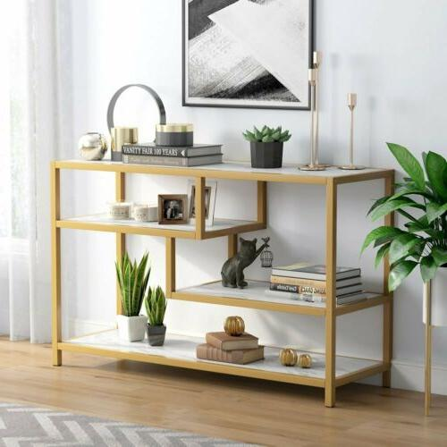 Stylish Faux Entry Table with Shelves