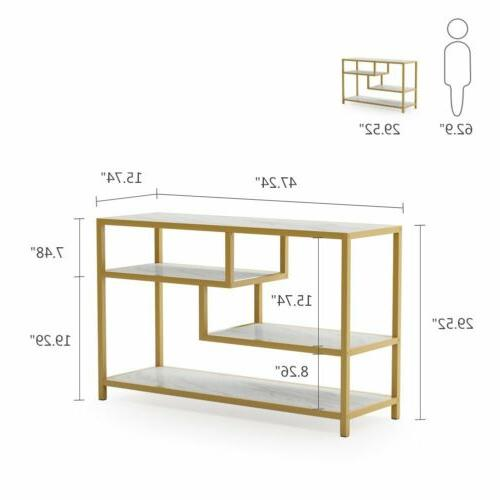 Living Room Modern Style TV Console Table Gold Metal Frame E