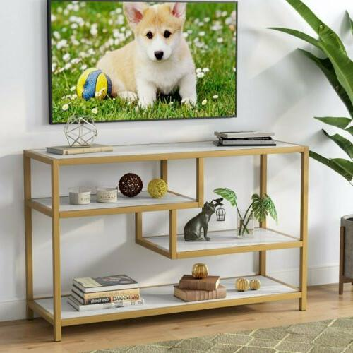 3-Tier TV Console Entry Entryway Sofa Table Metal Frame
