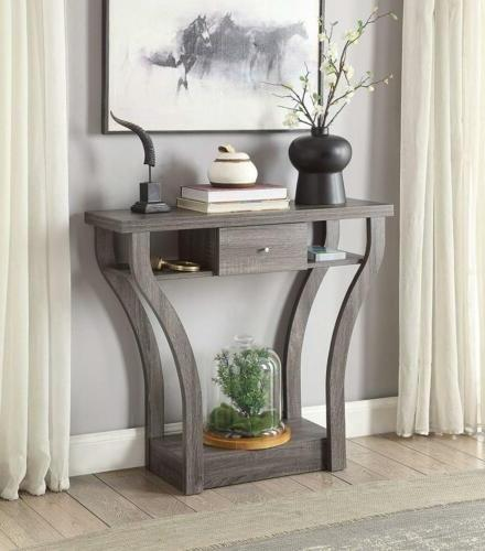 weathered grey finish curved console sofa entry