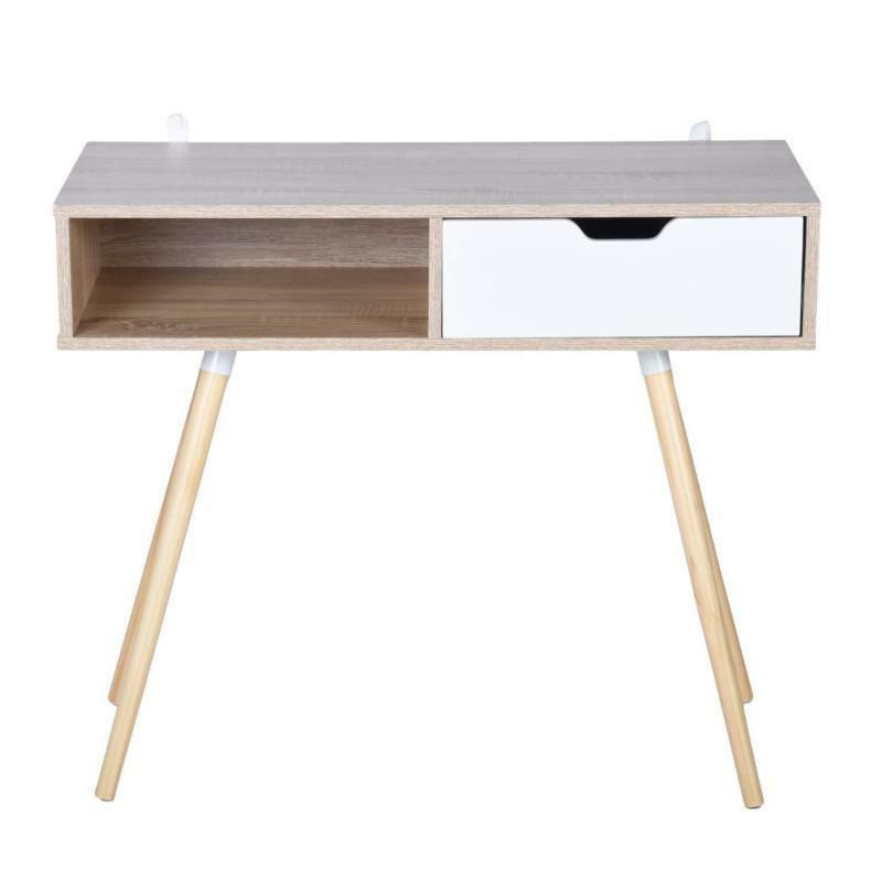 White And Console Table Computer Drawer