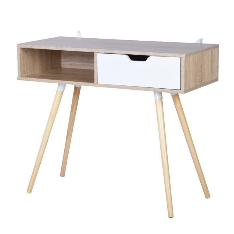 White And Natural Finish Console Sofa Computer Laptop Desk Drawer