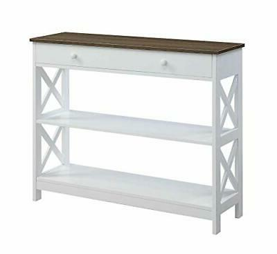white driftwood oxford 1 drawer console table