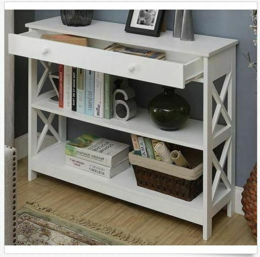 White Table Storage Console Furniture Accent Wooden Hallway Sofa Drawer