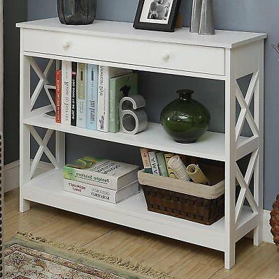 White with Drawer Accent Wood Sofa