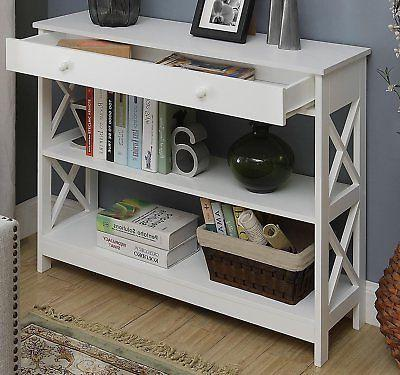 white storage console table with drawer accent