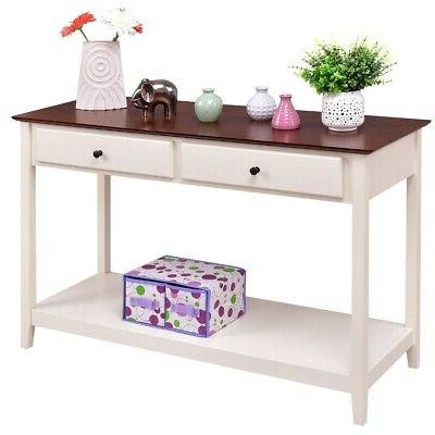 white wood 2 drawer console sofa table