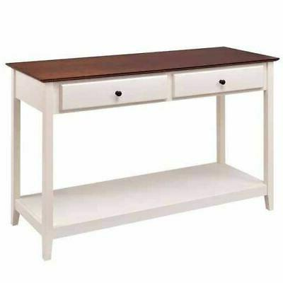 White 2-Drawer Console Sofa Finish Top