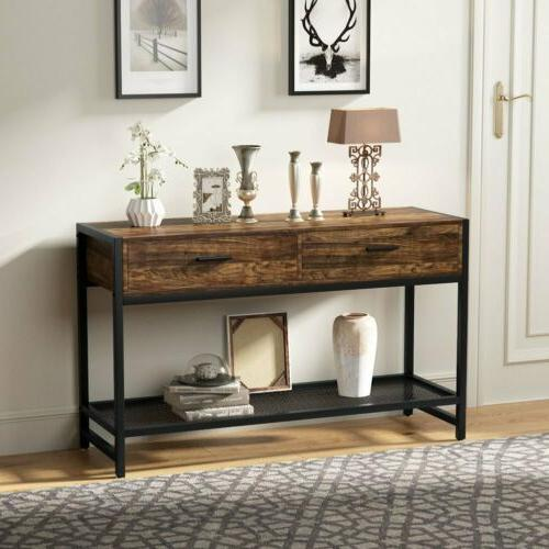 Rustic Brown Console Table with Lower Storage Shelf for Livi