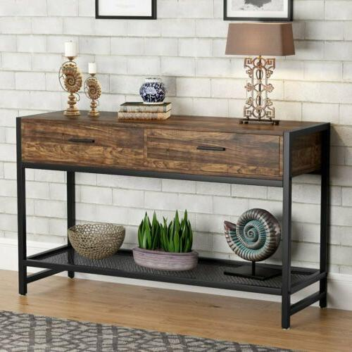 Tribesigns 2-Tier Sofa Console Table with 2 Drawers and Mesh