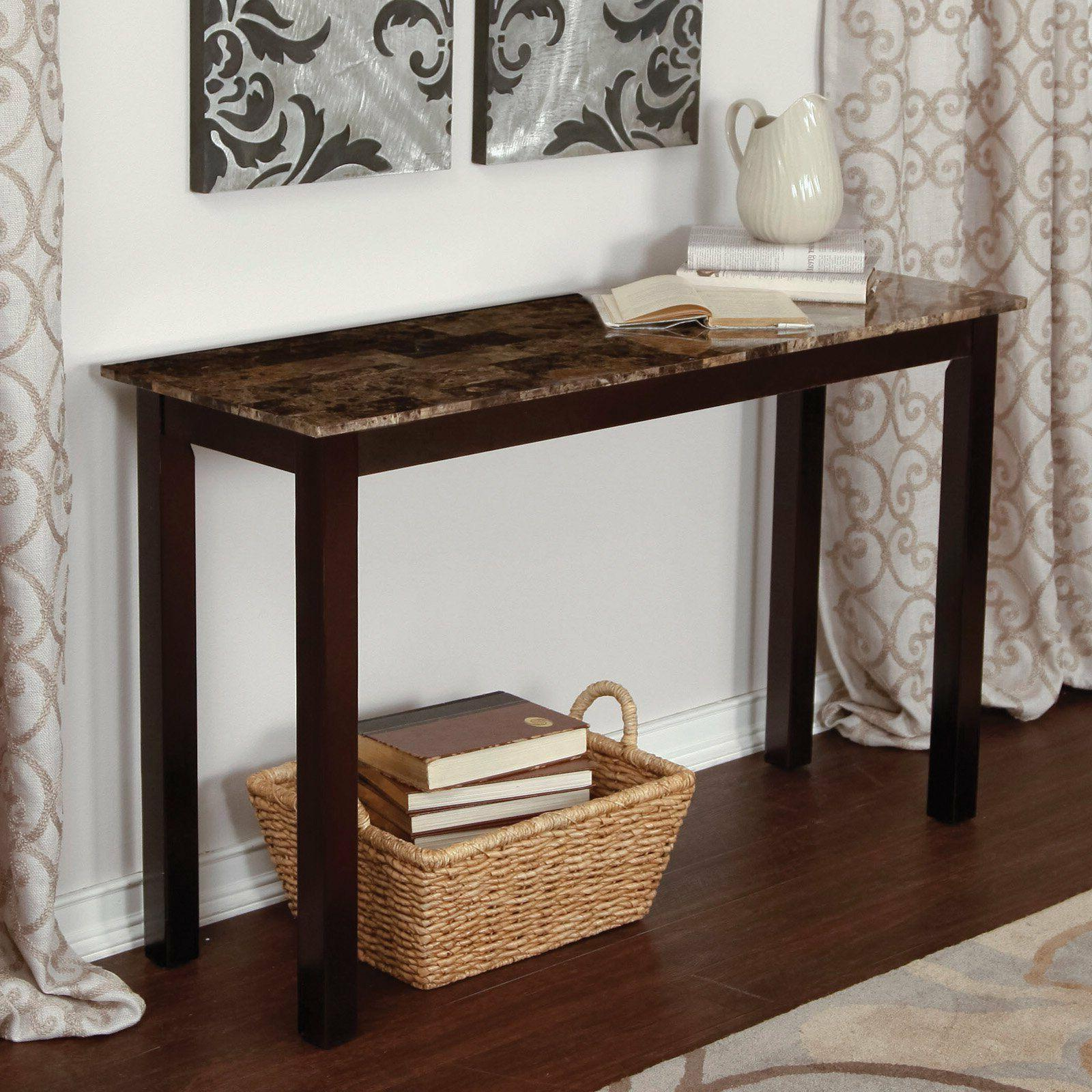 Wood Console Table Faux Marble Top Sofa Hall Entry Espresso