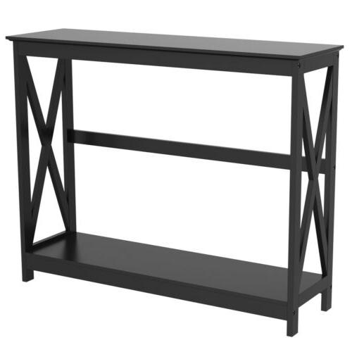 Console Table Modern Accent Side Stand Entryway Hall Display Storage Shelf
