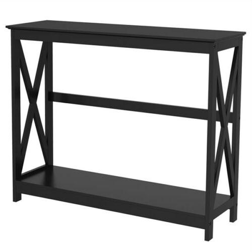 black finish 2 tier x design occasional