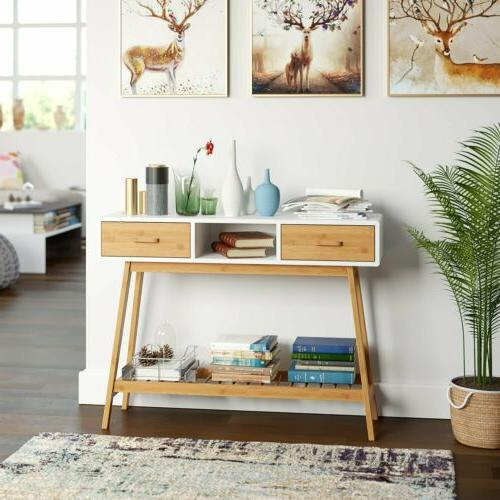 Wood Entryway Console Sofa Table with White