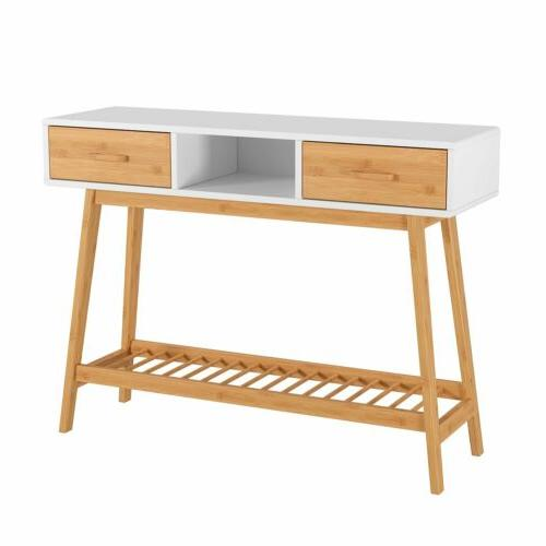 Wood Entryway Table White