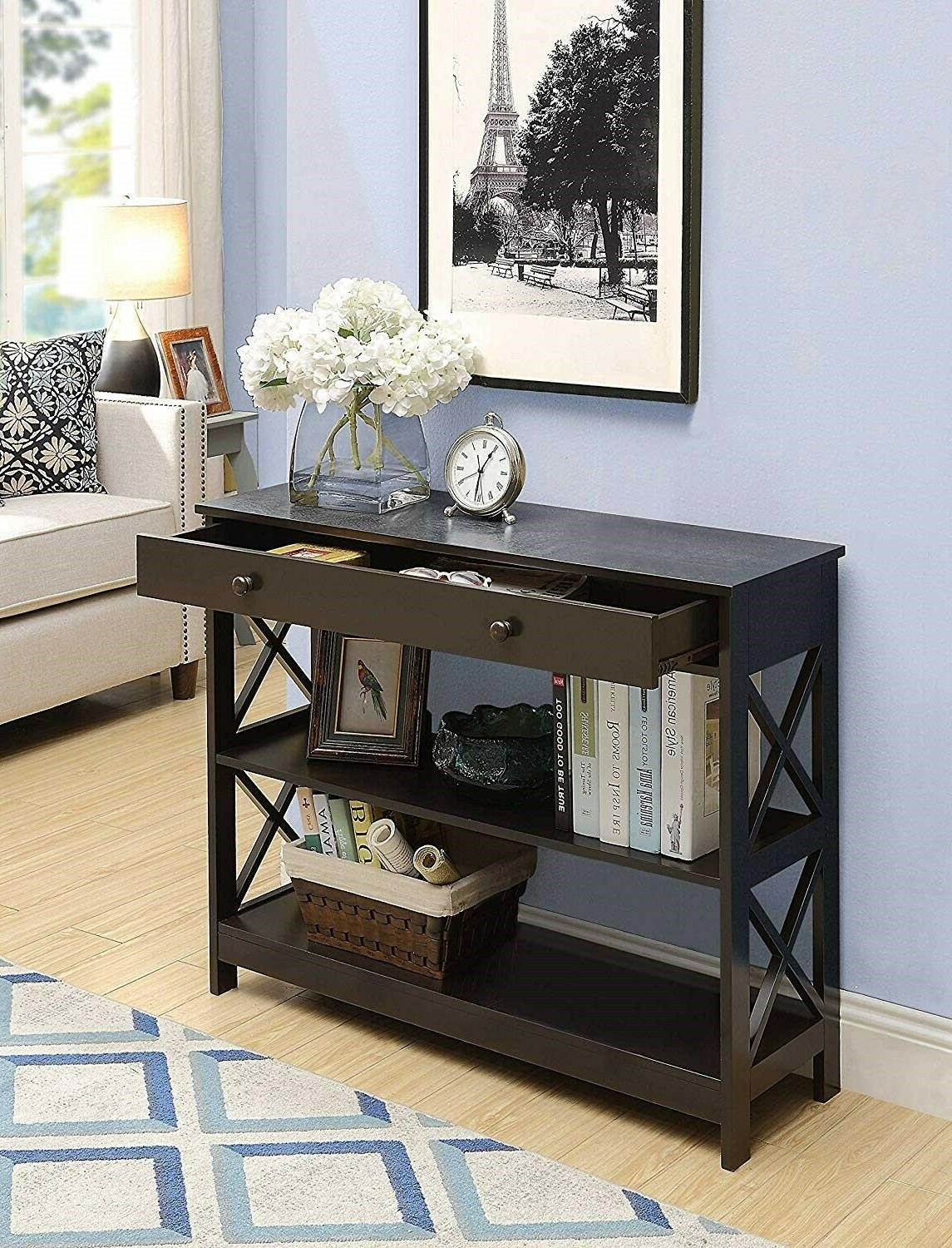 Wood Hallway Table Console Furniture Accent Espresso Entry W