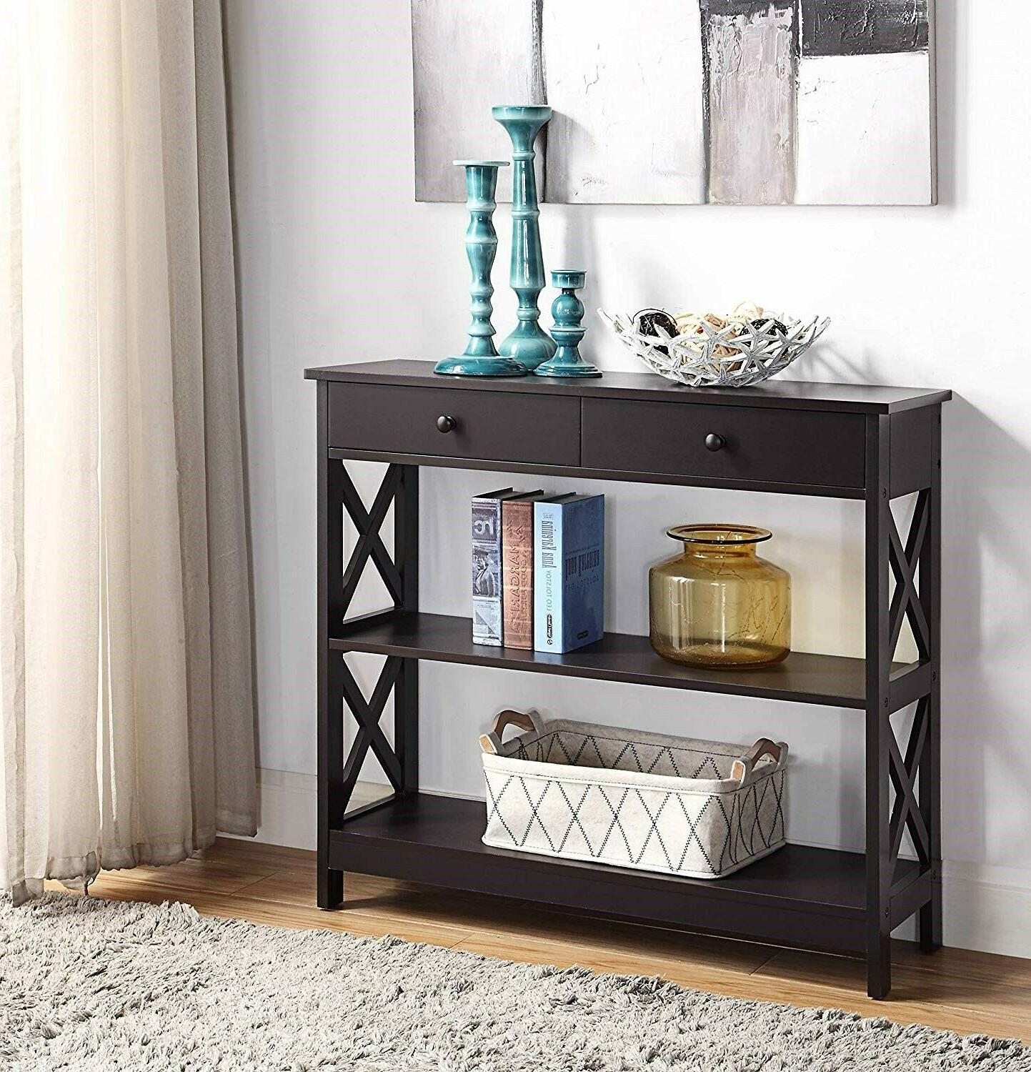 wood hallway table console furniture accent espresso