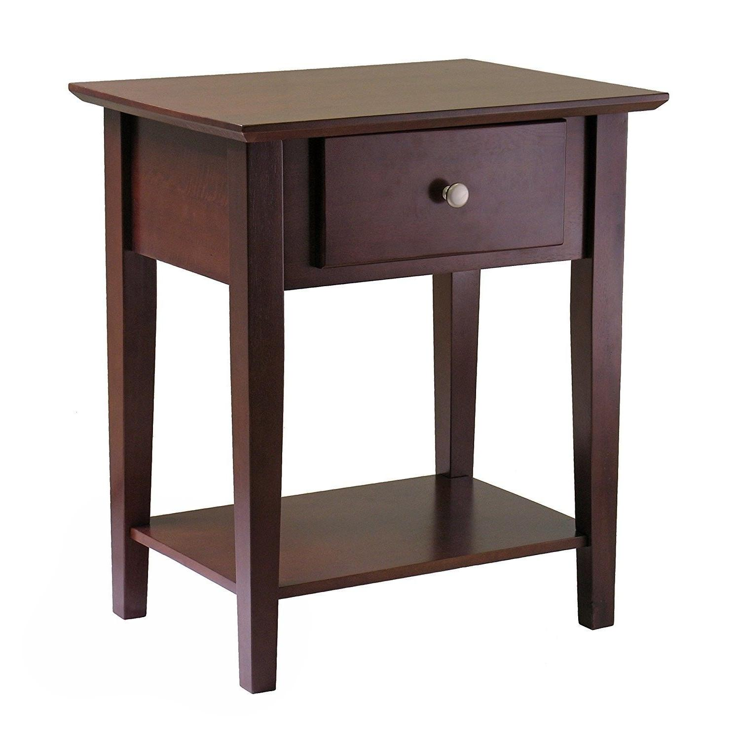 Wooden Shaker Night Stand End Table with Drawer Antique Waln