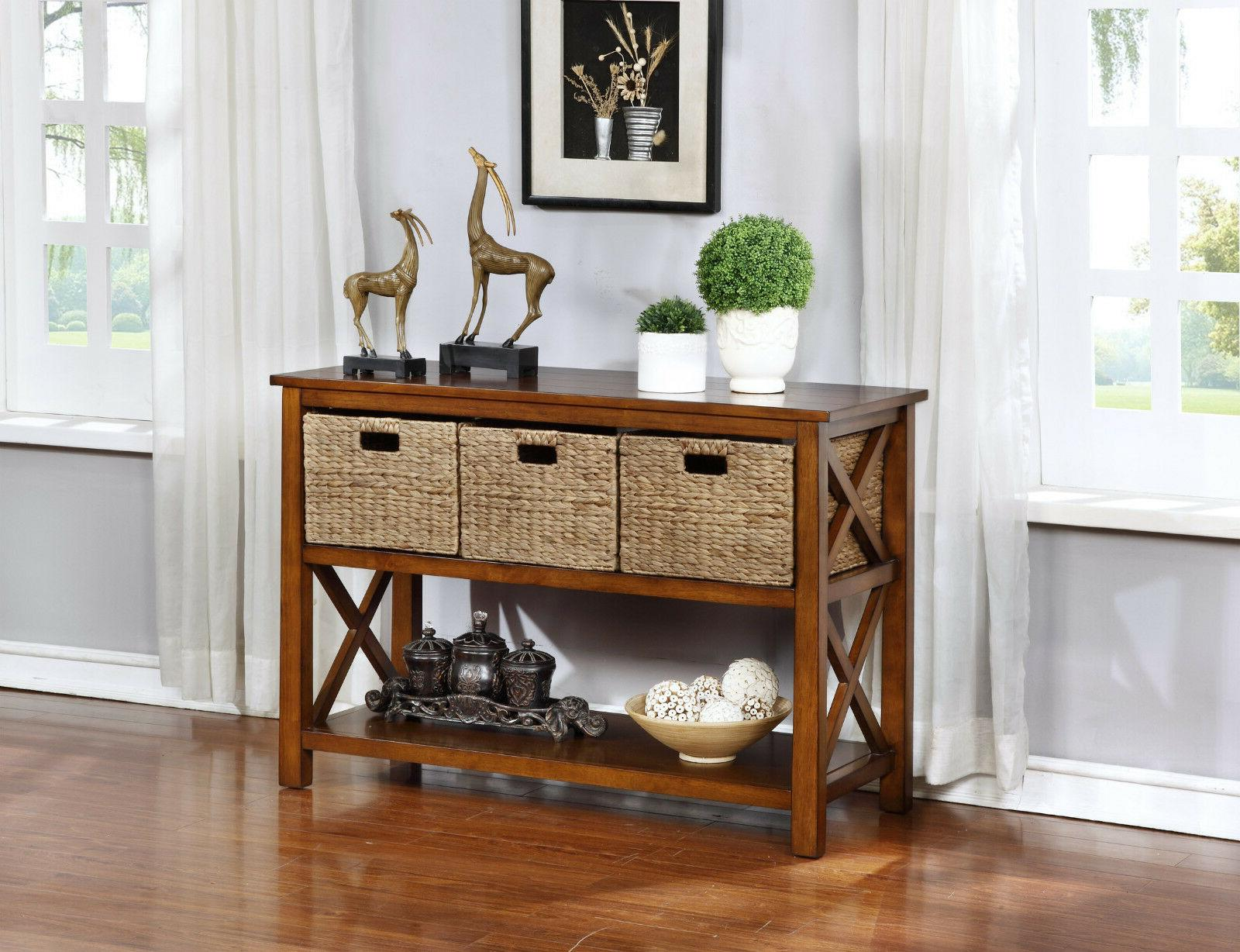 eHemco X Console Sofa Table with 2 Shelves and 3 Baskets