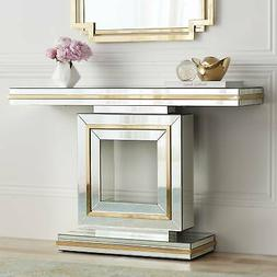 "Laila 48"" Wide Gold-Trimmed Mirrored Console Table"