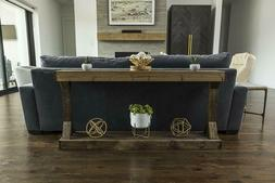 Large Console Table Primitive Walnut Stained Solid Wood Rust