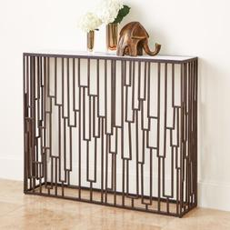 Layered Bronze Metal Open Geometric Console Table White Marb
