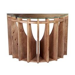 Lazy Susan Wooden Sundial Console Table