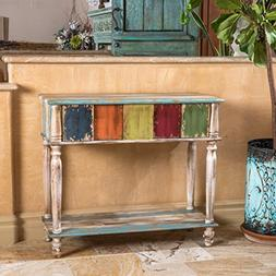 Leo Solid Wood 2 Drawer Console Table in Antique Weathered M